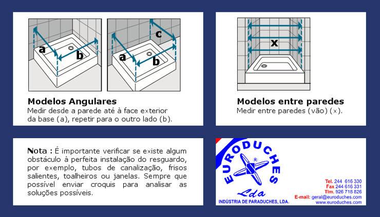 Como tirar medidas para cabines de duche ou resguardos de banho: Casa de banho  por Euroduches Lda.