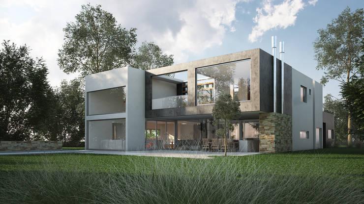 Casa Racionalista EZ en el Barrio Golf, Nordelta, Buenos Aires: Casas de estilo minimalista por Estudio Medan Arquitectos