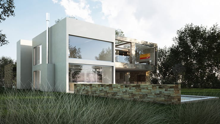 Casa Racionalista EZ en el Barrio Golf, Nordelta, Buenos Aires: Casas de estilo  por Estudio Medan Arquitectos