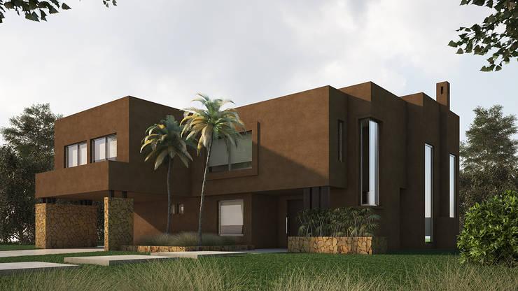 Casa Racionalista TP con detalles rusticos en Lagos del Golf, Nordleta: Casas de estilo  por Estudio Medan Arquitectos