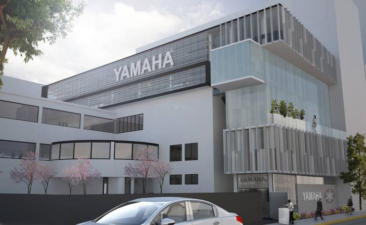 Fachada Yamaha Insurgentes : Estudios y oficinas de estilo  por Arquitectos M253