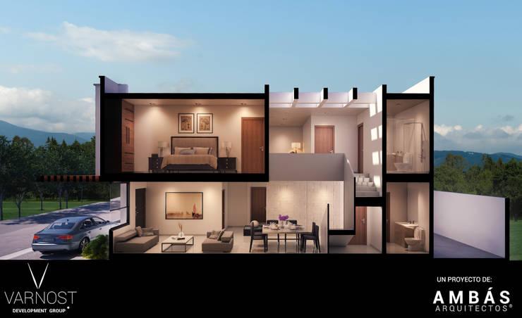 Corte Perspectivado: Pasillos y recibidores de estilo  por Ambás Arquitectos