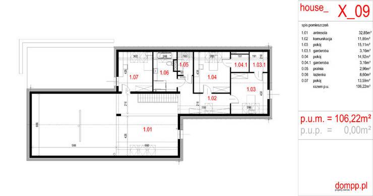 Projekty domów - House x09 - DomPP.pl: styl , w kategorii  zaprojektowany przez Majchrzak Pracownia Projektowa