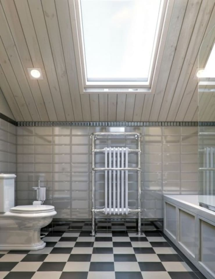 ДИЗАЙН ИНТЕРЬЕРА БРУСОВОГО ДОМА С ЦОКОЛЬНЫМ ЭТАЖОМ: Ванные комнаты в . Автор – META-architects архитектурная студия
