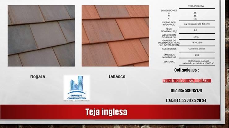 """TEJA PLANA  """"INGLESA"""": Casas de estilo  por ENFOQUE CONSTRUCTIVO"""