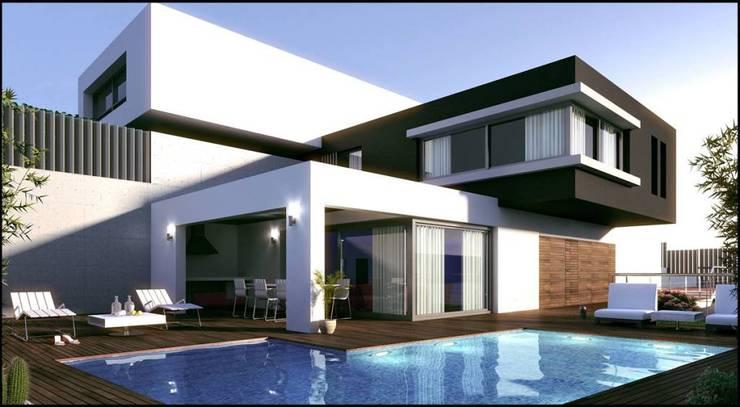 Proyecto residencia Téllez: Casas de estilo moderno por Grupo Puente Arquitectos.com