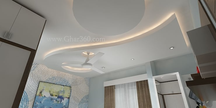 Elegant POP ceiling: modern Bedroom by Ghar360