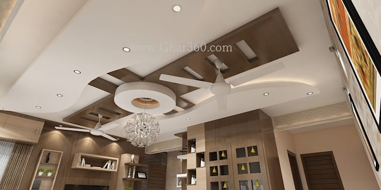 Living room ceiling: modern Living room by Ghar360