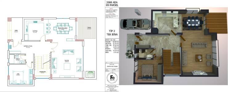 Fe mimarlık mühendislik ltd.şti. – zemin kat 3d: modern tarz , Modern