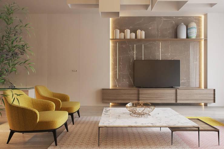 Projekty,  Salon zaprojektowane przez Espace Team