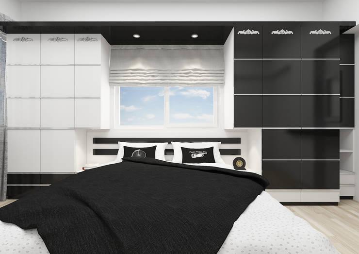 PRATIKIZ MIMARLIK/ ARCHITECTURE – BM, Yatak Odası:  tarz Yatak Odası, Minimalist Orta Yoğunlukta Lifli Levha