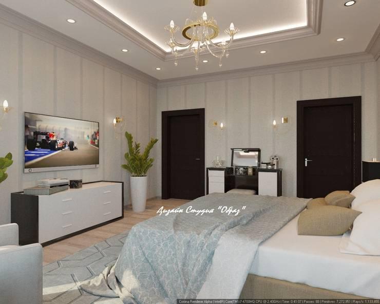 Элегантная спальня в светлых тонах: Спальни в . Автор – Дизайн Студия 'Образ'