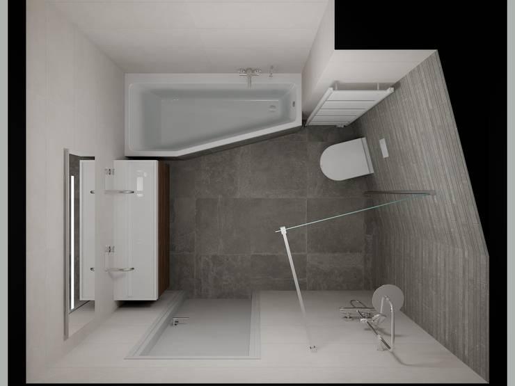 3D badkamer ontwerp met zichtbaar lijnenspel  :  Badkamer door Sani-bouw, Modern Tegels
