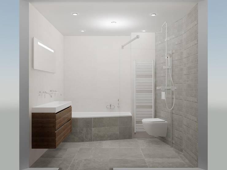 Een aantrekkelijk lijnenspel:  Badkamer door Sani-bouw, Modern Tegels