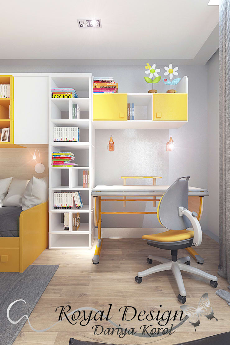 Детская комната нежно оранжевая для девочки 7-10 лет: Детские комнаты в . Автор – Your royal design,
