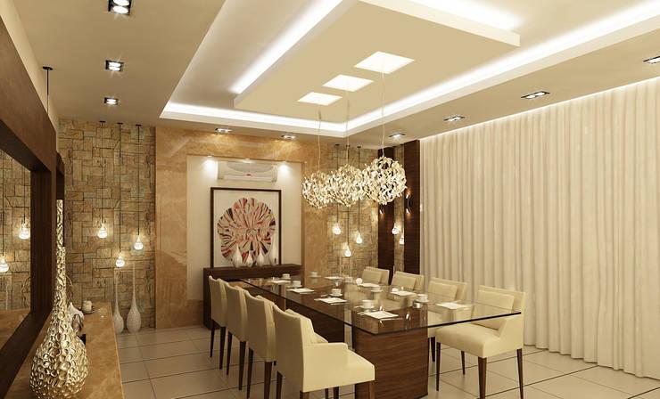 تصاميم داخلية فيلا سكنية (1):  غرفة السفرة تنفيذ rashaatalla