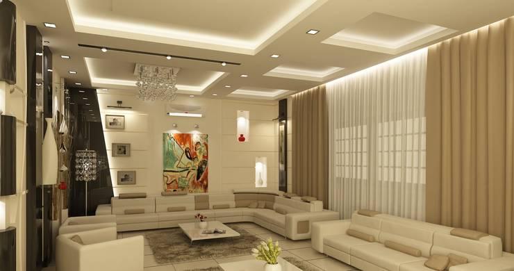 تصاميم داخلية فيلا سكنية (1):  غرفة المعيشة تنفيذ rashaatalla