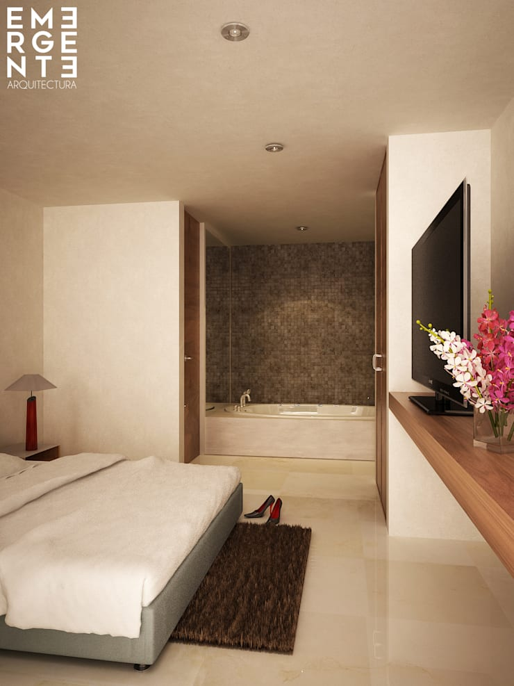 JUNIOR SUITE: Hoteles de estilo  por EMERGENTE   Arquitectura