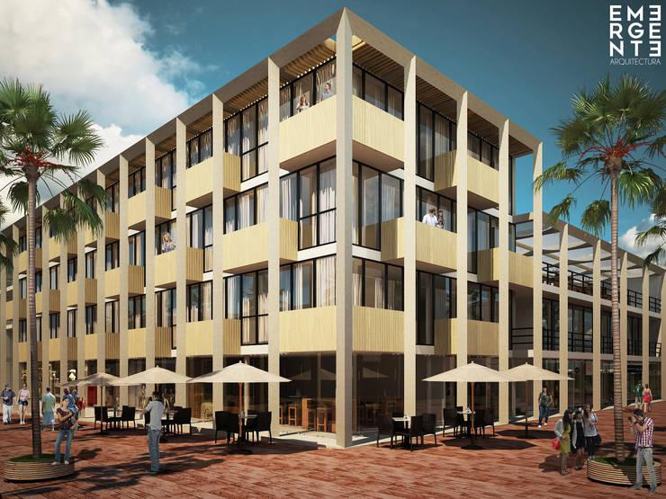 ESQUINA QUINTA AVENIDA: Hoteles de estilo  por EMERGENTE   Arquitectura