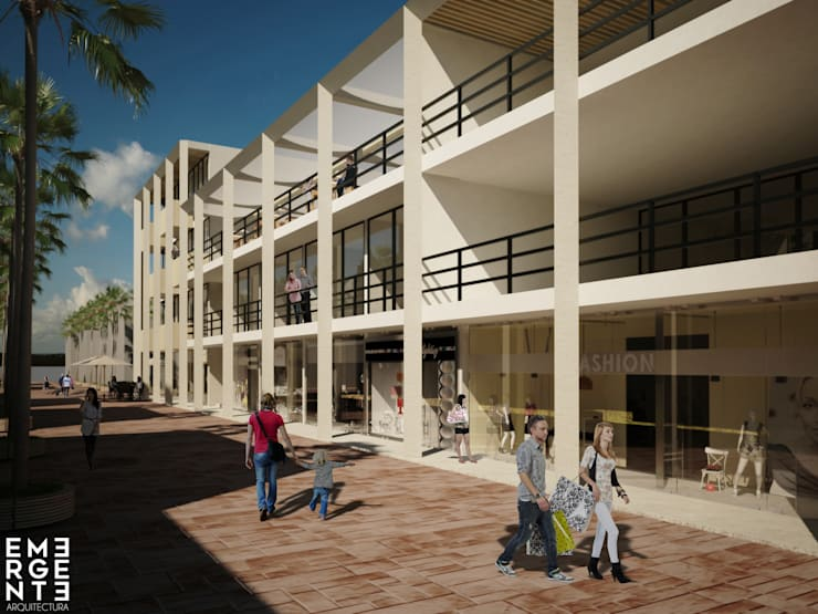 FACHADA QUINTA AVENIDA: Hoteles de estilo  por EMERGENTE   Arquitectura
