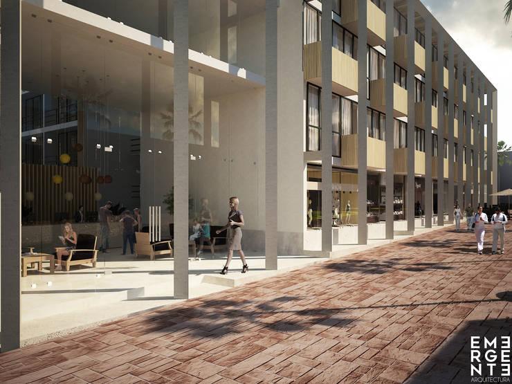 PORTAL DE ACCESO: Hoteles de estilo  por EMERGENTE   Arquitectura
