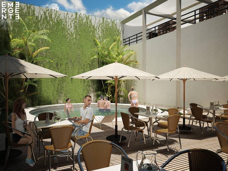 TERRAZA BAR CORAL: Hoteles de estilo  por EMERGENTE   Arquitectura