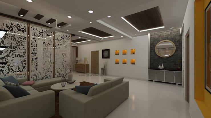 """Living Room - Wall Niche: {:asian=>""""asian"""", :classic=>""""classic"""", :colonial=>""""colonial"""", :country=>""""country"""", :eclectic=>""""eclectic"""", :industrial=>""""industrial"""", :mediterranean=>""""mediterranean"""", :minimalist=>""""minimalist"""", :modern=>""""modern"""", :rustic=>""""rustic"""", :scandinavian=>""""scandinavian"""", :tropical=>""""tropical""""}  by Ghar360,"""