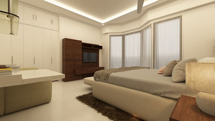 Master Bedroom TV Unit:   by Ghar360