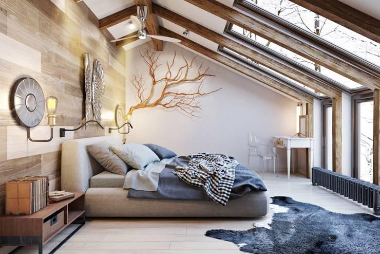 Дерево в помещение позволяет ощущать непосредственную связь с природой: Спальни в . Автор – Дизайн студия Алёны Чекалиной