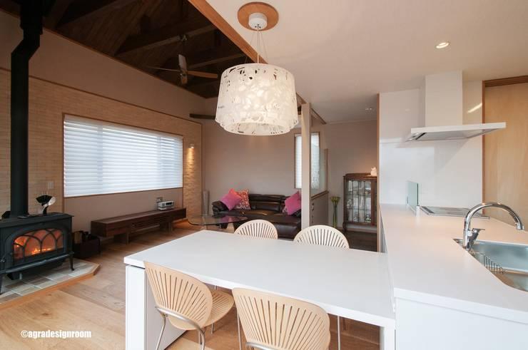 すこし山小屋風のテイストを入れたリビング: アグラ設計室一級建築士事務所 agra design roomが手掛けたリビングです。