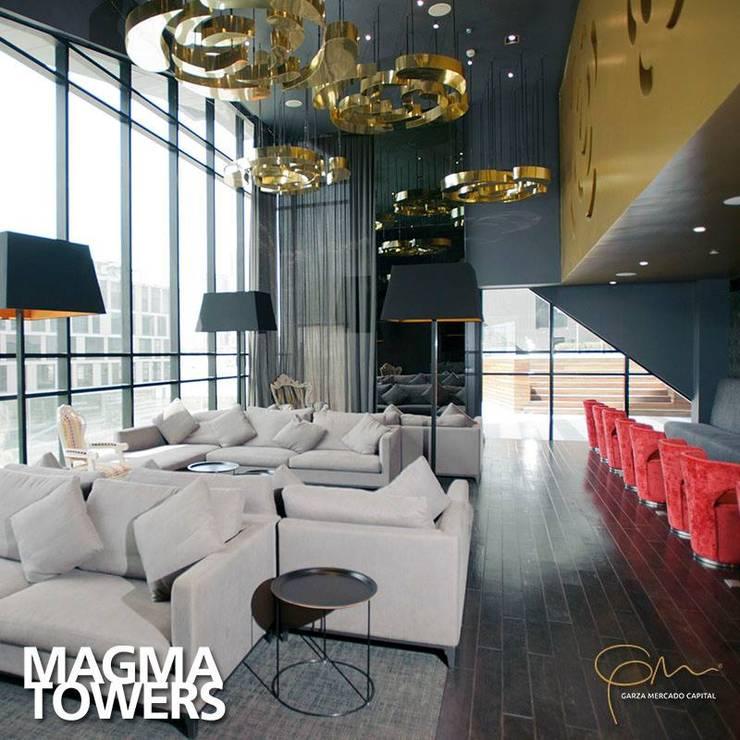 Amenidades Magma: Salas de estilo  por Línea Vertical