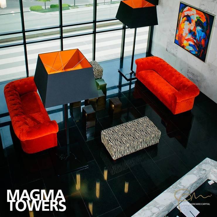 Amenidades Magma: Vestíbulos, pasillos y escaleras de estilo  por Línea Vertical
