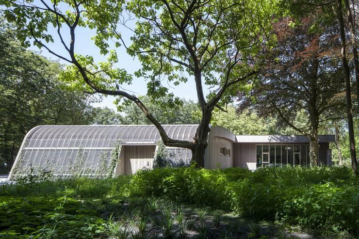 Zicht vanaf de bosrand:  Tuin door Erik Knippers Architect, Modern Hout Hout
