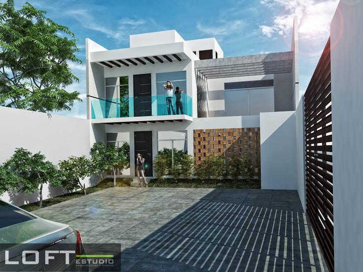 Casa Beth Fachada Interior: Casas de estilo  por LOFT ESTUDIO arquitectura y diseño