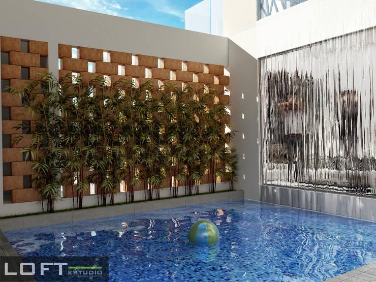 Alberca: Albercas de estilo  por LOFT ESTUDIO arquitectura y diseño
