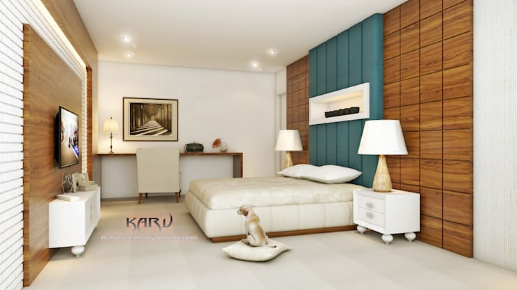 BEDROOM: modern Bedroom by KARU AN ARTIST
