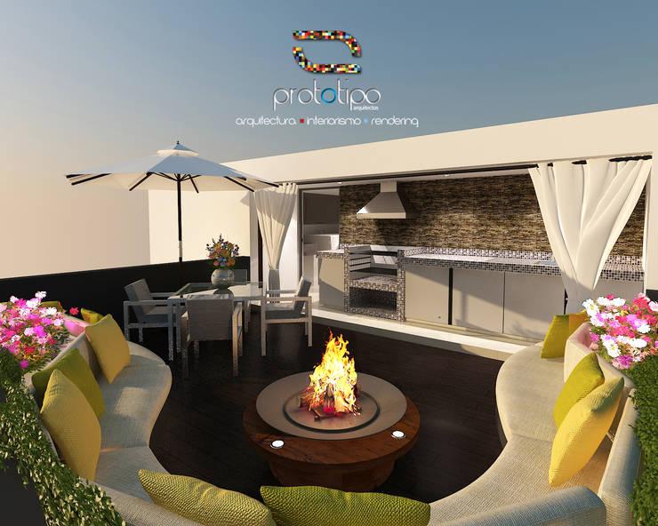 Roof Garden Casa 57 Casa Fuerte: Salas de estilo  por Prototipo Arquitectos