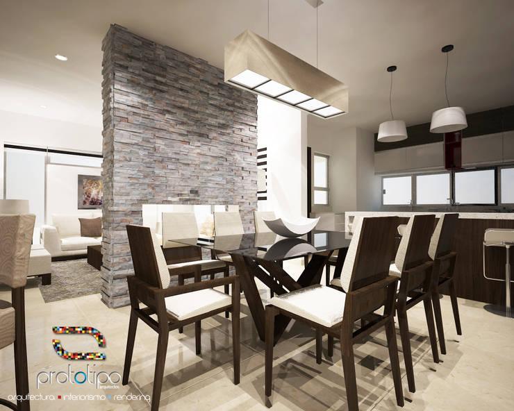 Comedor Casa 57 Casa Fuerte: Comedores de estilo  por Prototipo Arquitectos