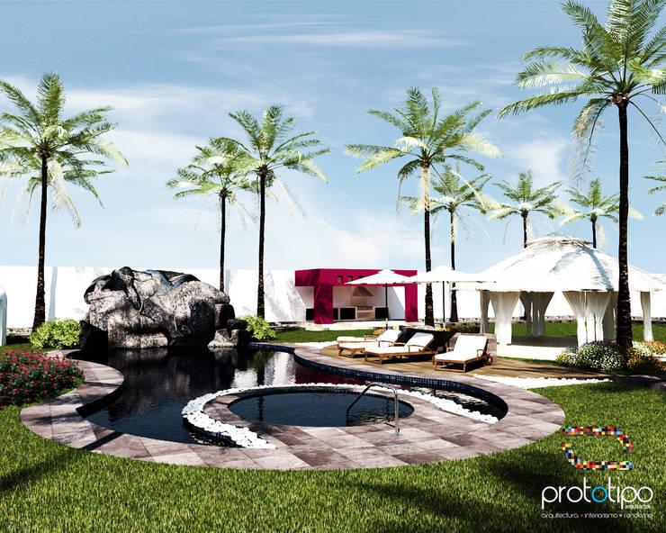 Alberca Terraza Sebastian: Albercas de estilo  por Prototipo Arquitectos