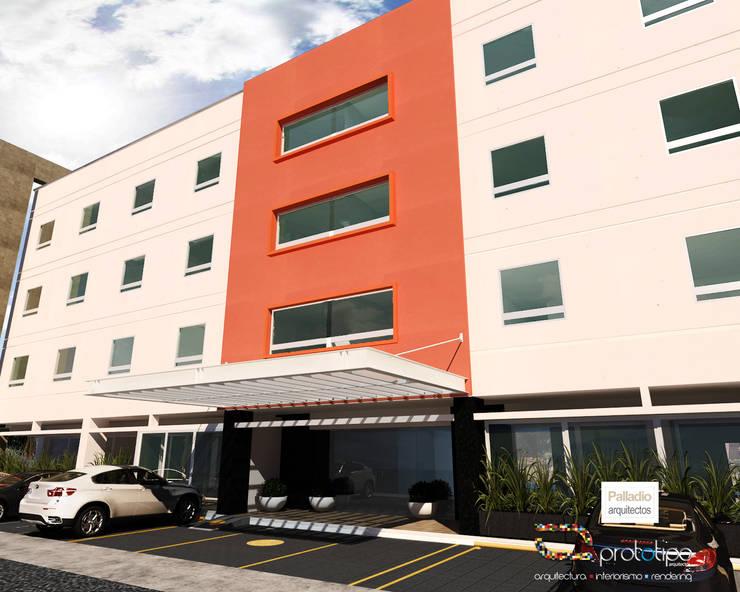 Fachada Hotel Morelia: Hoteles de estilo  por Prototipo Arquitectos, Moderno