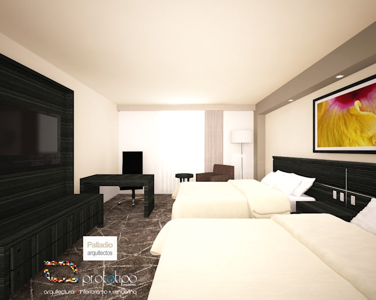 Habitación Doble: Hoteles de estilo  por Prototipo Arquitectos, Moderno