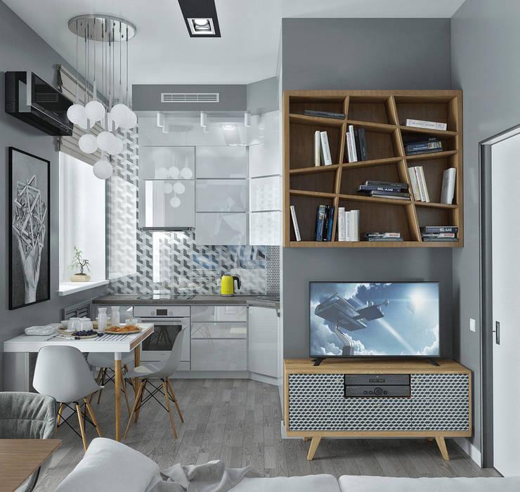 Гостиная комната совмещенная с кухней: Гостиная в . Автор – Yurov Interiors