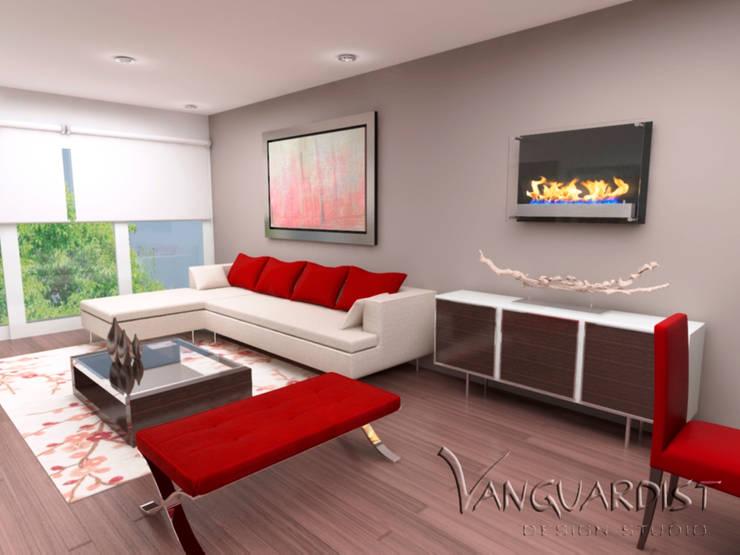 Vista Sala Principal:  de estilo  por Vanguardist Design Studio