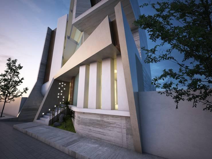 VISTA DE ACCESO PRINCIPAL: Estudios y oficinas de estilo  por VISION+ARQUITECTOS