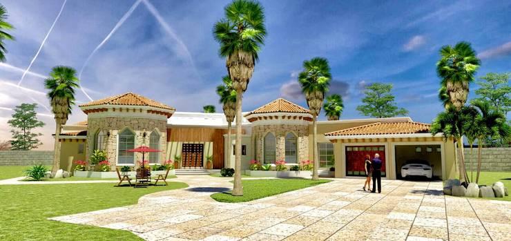 VISTA EXTERIOR: Casas de estilo  por VISION+ARQUITECTOS
