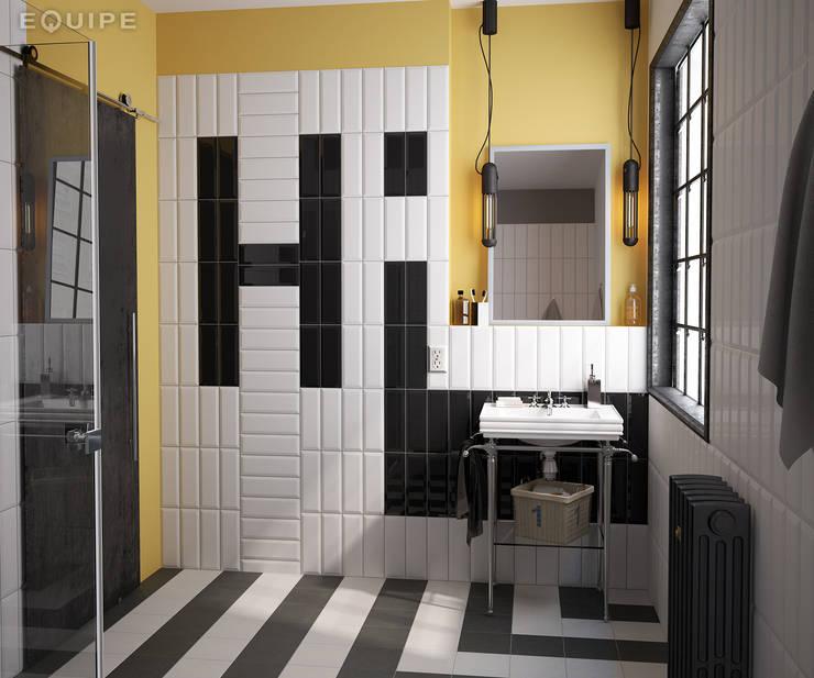 Metro White, Black 7,5x30: Baños de estilo  de Equipe Ceramicas