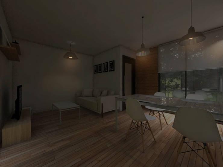 INTERIORES / VIVIENDA M / EDICION CAPSULA / TU CASA: Livings de estilo  por VHA Arquitectura