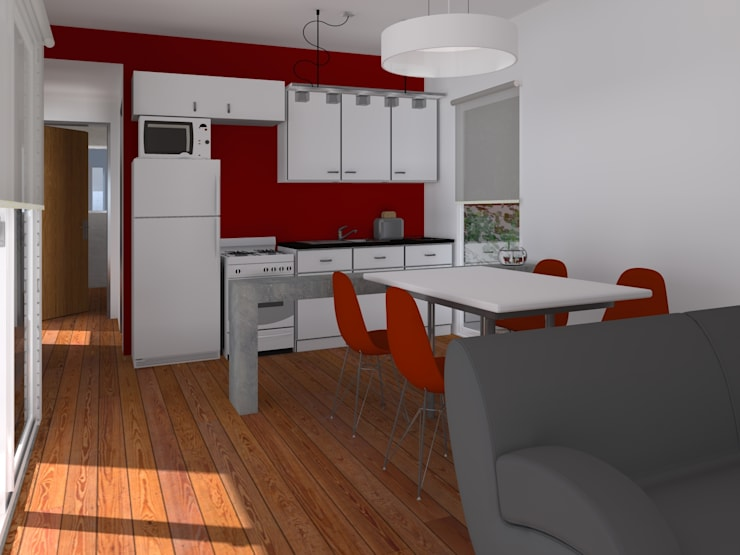 INTERIORES / VIVIENDA F / EDICION CAPSULA / TU CASA: Cocinas de estilo  por VHA Arquitectura