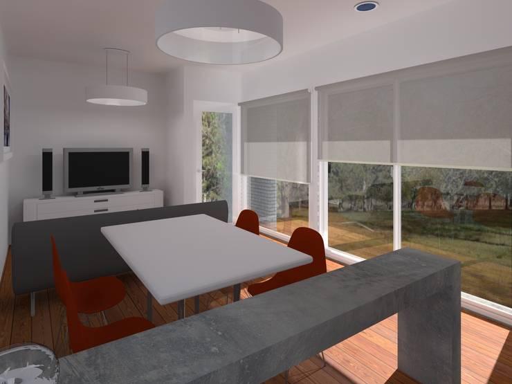 INTERIORES / VIVIENDA F / EDICION CAPSULA / TU CASA: Comedores de estilo  por VHA Arquitectura