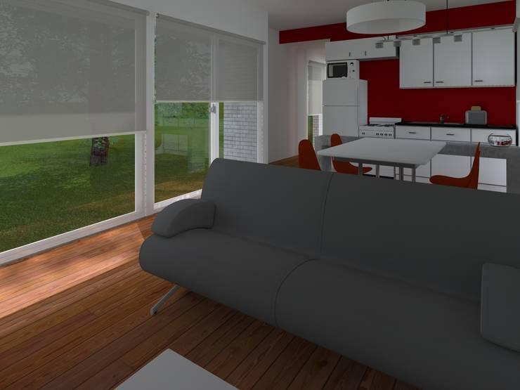 INTERIORES / VIVIENDA F / EDICION CAPSULA / TU CASA: Livings de estilo  por VHA Arquitectura